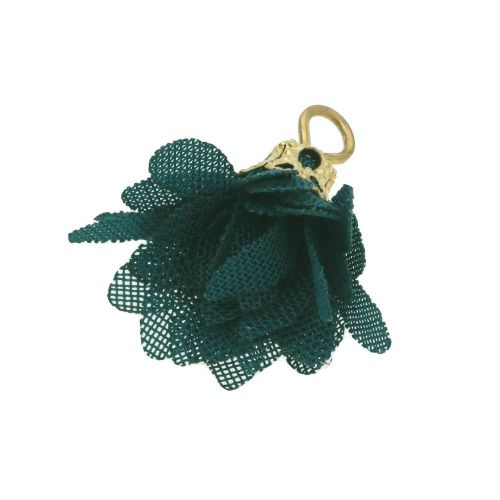 Tulle flower / with openwork tip / 18mm / Gold Plated /bottle green / 4 pcs