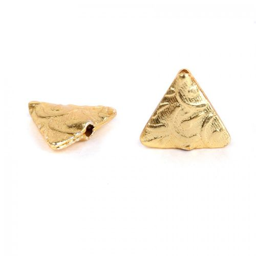 X-Gold Plated Fancy Triangle Bead 13mm Pk5