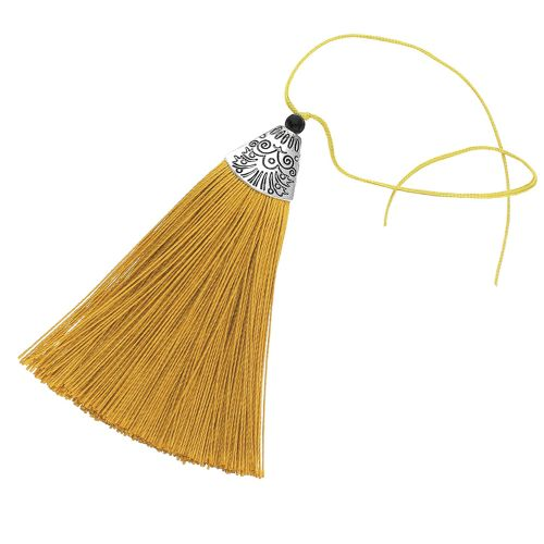 Tassel / viscose thread / silver flat end cap / 80mm / gold / 1pcs
