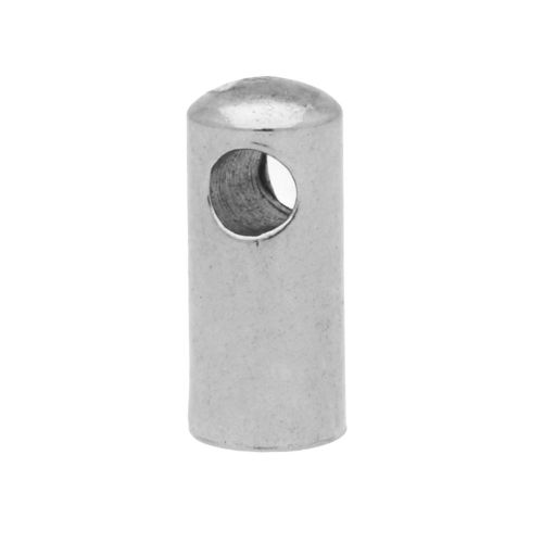End cap / surgical steel / 7x1.5x1.5mm / silver / hole 1mm / 4pcs