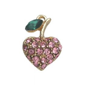 Glamm ™ Heart / charm pendant / with zircons / 17x12x5.5mm / gold plated / rose crystal / 1pcs