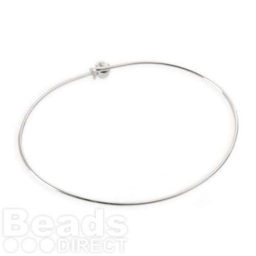 Silver Plated Bangle Bracelet Base 50x65mm with Ball and Hook Fasten Pk1