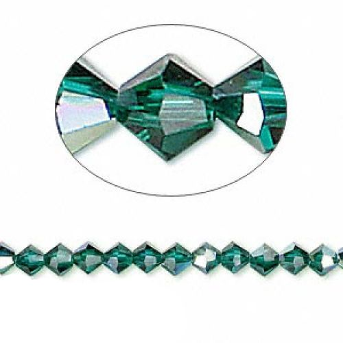 5328 Swarovski Crystal Bicones Xillion 4mm Emerald AB Pk24