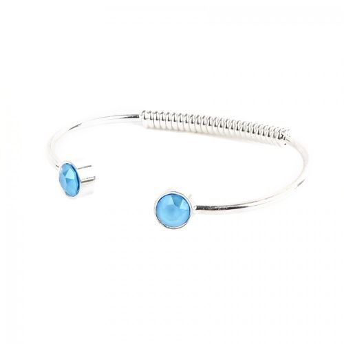 Silver Plated Summer Blue Bangle Made with Swarovski