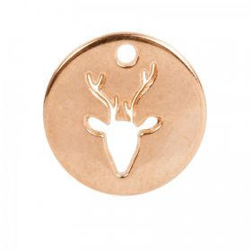 Rose Gold Plated Zamak Cut Out Deer Head Charm 18mm Pk1