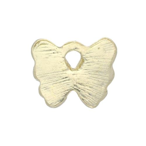 SweetCharm ™ Butterfly / charm pendant / 10x12.5x2mm / gold plated / pink / 2pcs