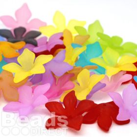 Mixed Multi-colour Lucite Flower Beads Medium Pk20