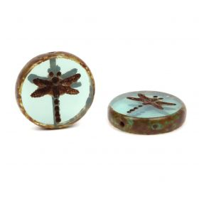 Preciosa Czech Glass Dragonfly Coin Bead Turquoise 17mm Pk3