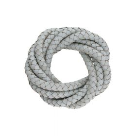 Leather cord / natural / round / braided / 6mm / grey / 1m