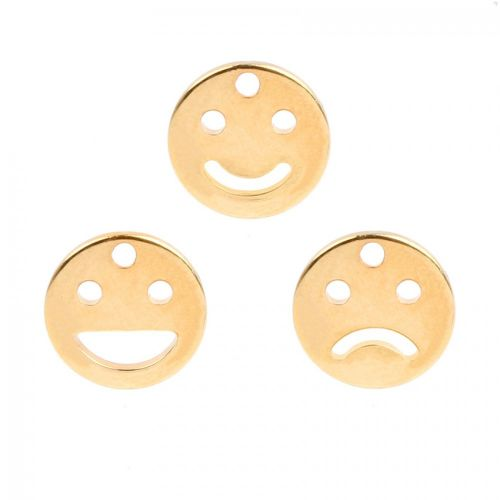 Gold Plated Emoji Charms Pack of 3 10mm