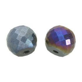 CrystaLove™ crystals / glass / faceted round / 8x10mm / graphite / iridescent / 6pcs