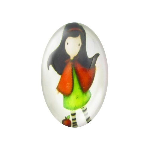Glass cabochon with graphics oval 18x25mm PT1489 / green-white / 2pcs