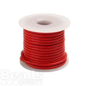 Red Round Leather 2mm Cord 5metre Reel