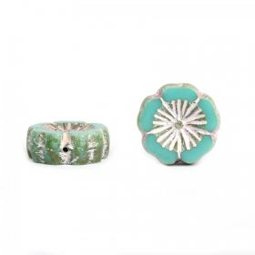 Turquoise & Silver Preciosa Czech Glass Flower 14mm Pk10