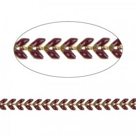 Bordeaux Enamelled Gold Plated Laurel Leaf Chain 6mm 20cm Length