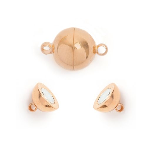 X Rose Gold Plated Magnetic Ball Clasp 10mm Pk1