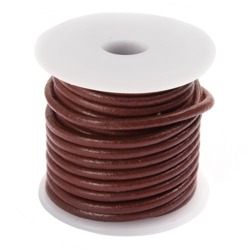 Mulberry Round Leather 3mm Cord 5 Metre Reel