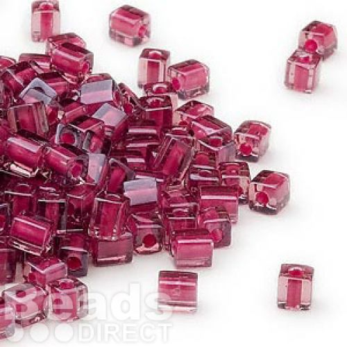 X-Beads Miyuki square colour lined 4mm pink/red 10g