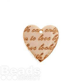 Rose Gold Plated Brass Scripted Heart Charm 18x20mm Pk1