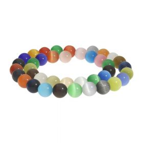Cat's eye (synthetic) / round / 10mm / multicoloured / 40pcs