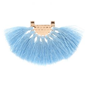 Light Blue Fan Tassel with Gold Plated Hammered Top 45x80mm Pk1