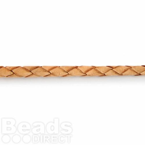 X-4mm Braided Leather in Natural Sold in pre cut 1 Metre Length