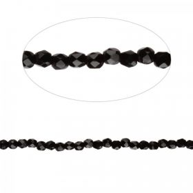 Jet Czech Glass Fire Polish Beads 2mm Pk100