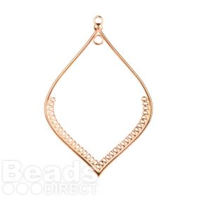Rose Gold Plated Zamak Large Leaf Hollow Dreamcatcher Charm 80x118mm Pk1