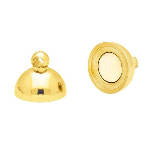 Magnetic clasp / surgical steel / sphere / 13x8x8mm / gold / 1pcs