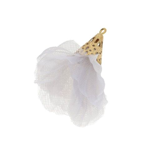 Tulle flower / with openwork tip / 30mm / Gold Plated / light grey / 2 pcs