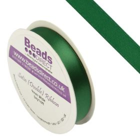 """X"" Green Double Satin Ribbon 9mm Sold on a 5 Metre Reel"