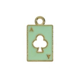SweetCharm ™ Ace of clubs / charms pendants / 18x11x2mm / pistachio / gold plated / 2 pcs