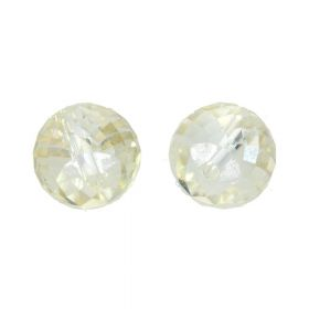 CrystaLove™ crystals / glass / faceted round / 6x8mm / beige-cream / transparent / 6pcs