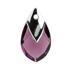 6565 Swarovski Crystal Pear Shaped Pendant 22mm Amethyst with Light Chrome Metallic Cap Z Pk1