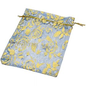 Organza bag / 10x12cm / blue with gold roses / 5pcs