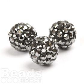 Gunmetal Round 10mm Essential Shamballa Fashion Bead Pk3