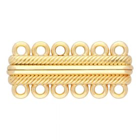 Magnetic clasp / wide / 6 loops / 17x38x7mm / gold / 2.5mm hole / 1pcs
