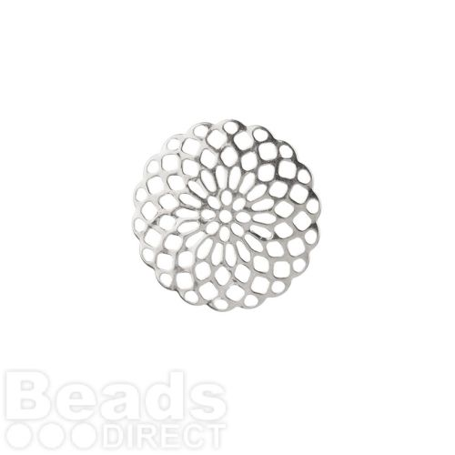 Silver Plated Filigree Flower Connector 20mm Pk2