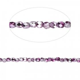 Orchid Mirror Effect Czech Glass Fire Polish Beads 2mm Pk100