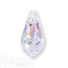 6000 Swarovski Faceted Drop Pendant 13x6mm Crystal AB Pk2