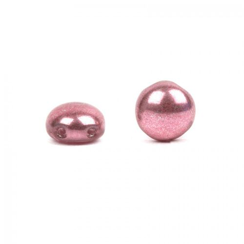 X- Preciosa Pressed Candy Twin Hole Beads Vintage Pink 8mm Pk30