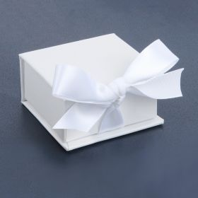 White Square Small Premium Jewellery Gift Box with Ribbon Fasten 3x6cm Pk1