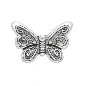 Butterfly / spacer / 12x18x3.5mm / silver / hole 1mm / 4pcs