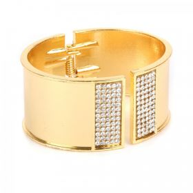 Gold Plated Bangle Cuff Base with Crystals 65x60mm with diameter cord space-28mm Pk1