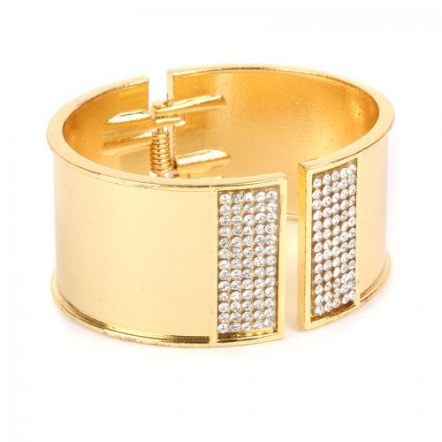 Gold Plated Bangle Cuff Base with Crystals 50x60mm with diameter cord space-28mm Pk1