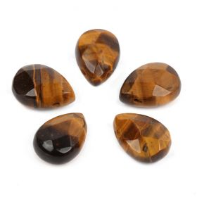 Tiger Eye Side Drilled Faceted Pear Beads 10x14mm Pk5