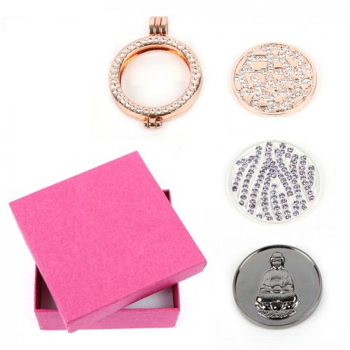 """X"" Rose Gold Large Interchangeable Locket with 3 Coins & Box"