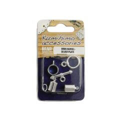 Kumihimo Findings Set 6mm Barrel Silver Plated