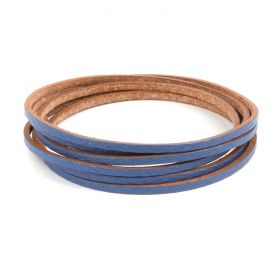 Blue Flat Leather Cord 2mm Pre Cut 1metre