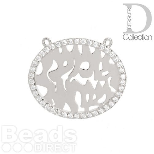 Rhodium Plated Fancy Oval Charm with 2 Top Loops Cubic Zirconia Edge 22x27mm Pk1
